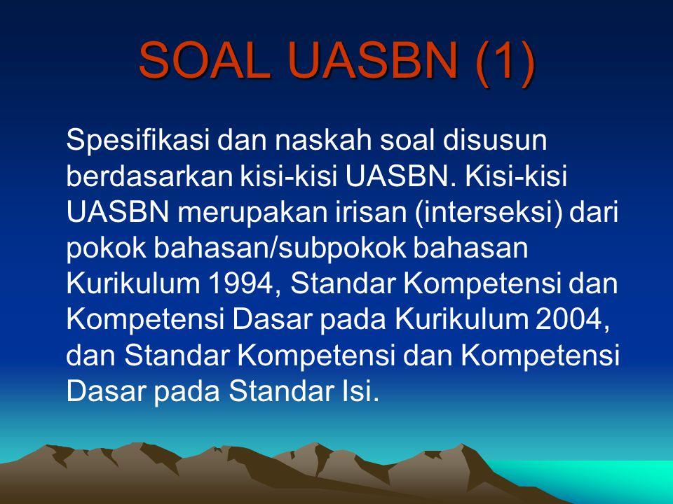 SOAL UASBN (1) Spesifikasi dan naskah soal disusun berdasarkan kisi-kisi UASBN. Kisi-kisi UASBN merupakan irisan (interseksi) dari pokok bahasan/subpo
