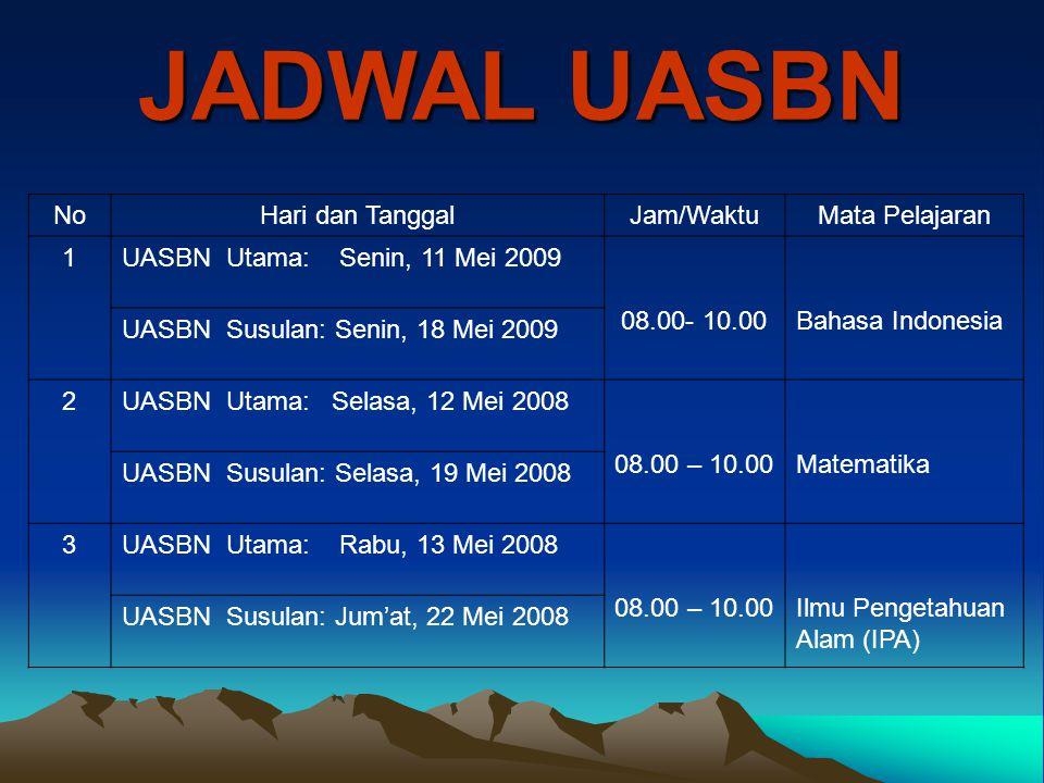 JADWAL UASBN NoHari dan TanggalJam/WaktuMata Pelajaran 1UASBN Utama: Senin, 11 Mei 2009 08.00- 10.00Bahasa Indonesia UASBN Susulan: Senin, 18 Mei 2009
