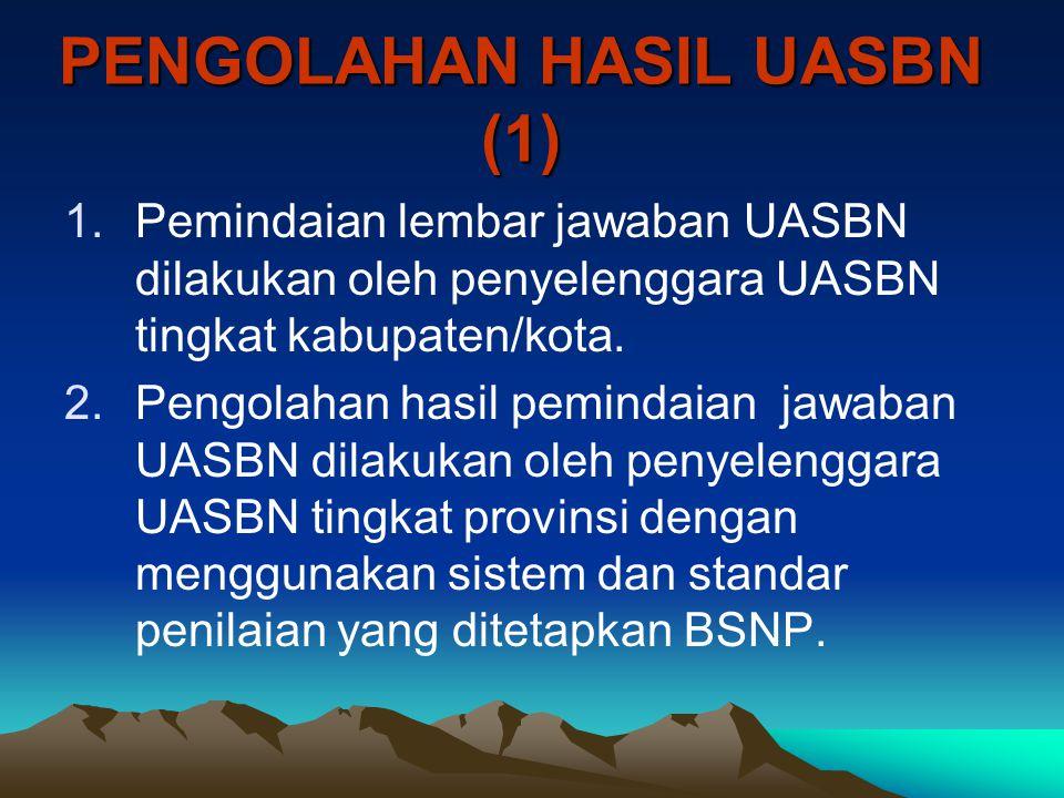 PENGOLAHAN HASIL UASBN (1) 1.Pemindaian lembar jawaban UASBN dilakukan oleh penyelenggara UASBN tingkat kabupaten/kota. 2.Pengolahan hasil pemindaian