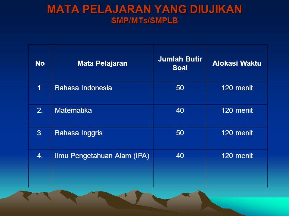 MATA PELAJARAN YANG DIUJIKAN SMP/MTs/SMPLB NoMata Pelajaran Jumlah Butir Soal Alokasi Waktu 1.Bahasa Indonesia50120 menit 2.Matematika40120 menit 3.Ba
