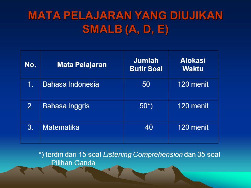 MATA PELAJARAN YANG DIUJIKAN SMALB (A, D, E) No.Mata Pelajaran Jumlah Butir Soal Alokasi Waktu 1.Bahasa Indonesia50120 menit 2.Bahasa Inggris50*)120 m