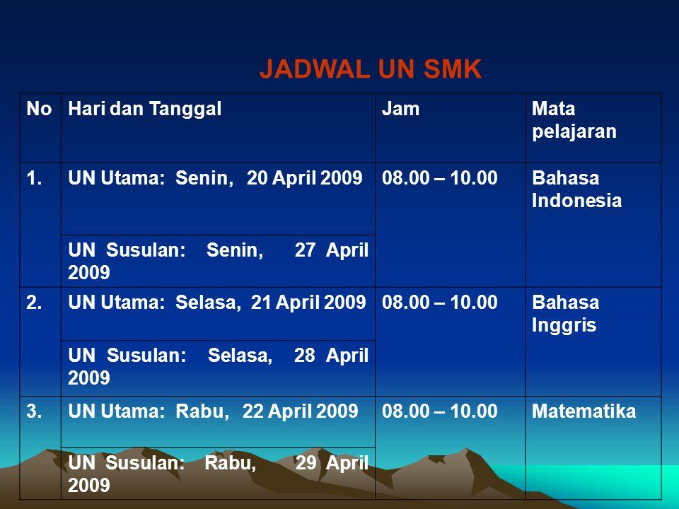 NoHari dan TanggalJamMata pelajaran 1.UN Utama: Senin, 20 April 200908.00 – 10.00Bahasa Indonesia UN Susulan: Senin, 27 April 2009 2.UN Utama: Selasa,