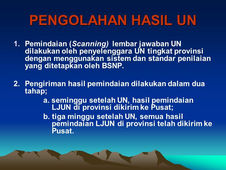 PENGOLAHAN HASIL UN 1.Pemindaian (Scanning) lembar jawaban UN dilakukan oleh penyelenggara UN tingkat provinsi dengan menggunakan sistem dan standar p