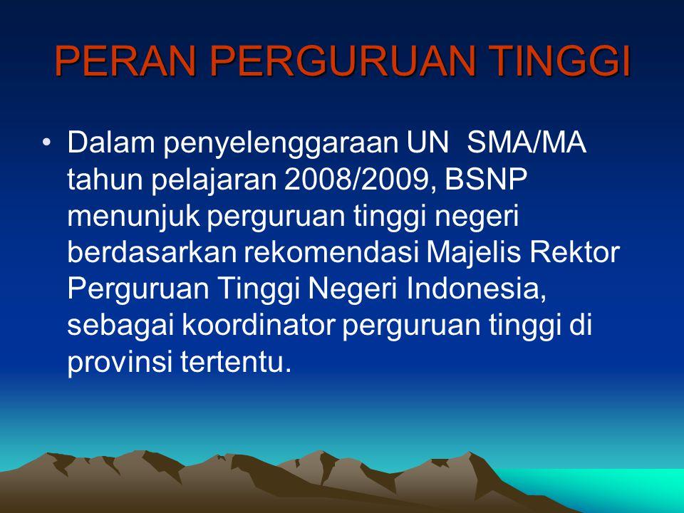 PERAN PERGURUAN TINGGI Dalam penyelenggaraan UN SMA/MA tahun pelajaran 2008/2009, BSNP menunjuk perguruan tinggi negeri berdasarkan rekomendasi Majeli