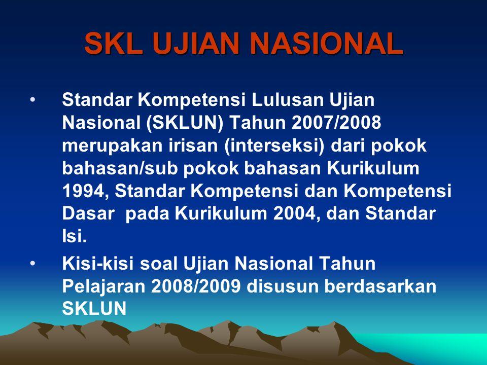SKL UJIAN NASIONAL Standar Kompetensi Lulusan Ujian Nasional (SKLUN) Tahun 2007/2008 merupakan irisan (interseksi) dari pokok bahasan/sub pokok bahasa