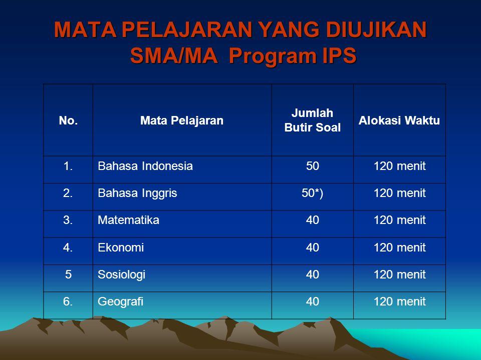 MATA PELAJARAN YANG DIUJIKAN SMA/MA Program IPS No.Mata Pelajaran Jumlah Butir Soal Alokasi Waktu 1.Bahasa Indonesia50120 menit 2.Bahasa Inggris50*)12