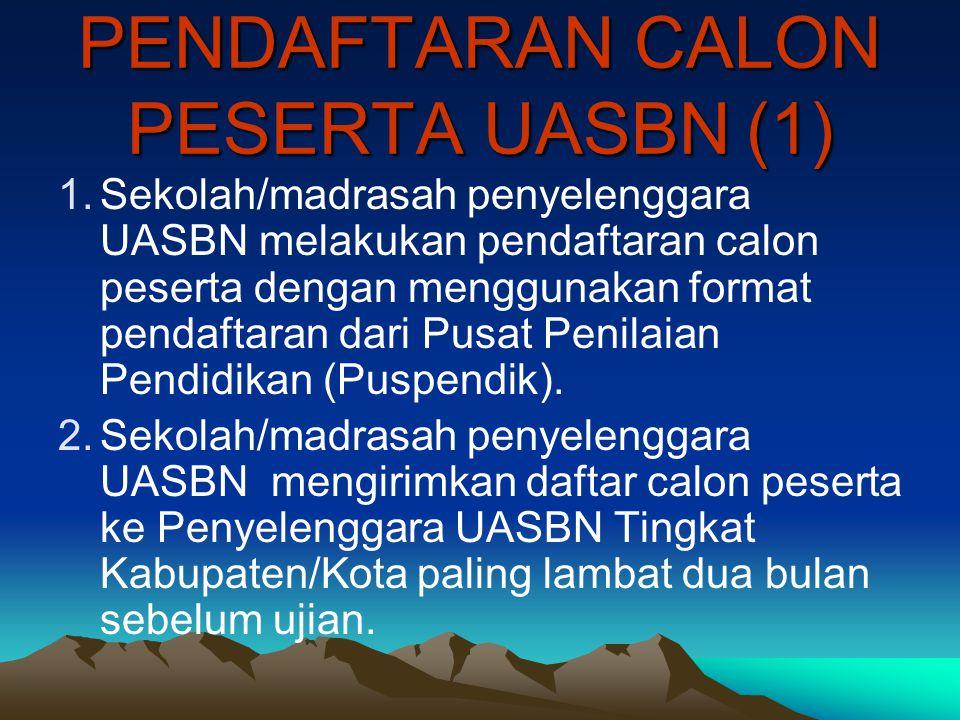 PENDAFTARAN CALON PESERTA UASBN (2) 3.Penyelenggara UASBN Tingkat Kabupaten/Kota mengkoordinasikan entri data calon peserta dengan menggunakan software yang diterbitkan oleh Puspendik.
