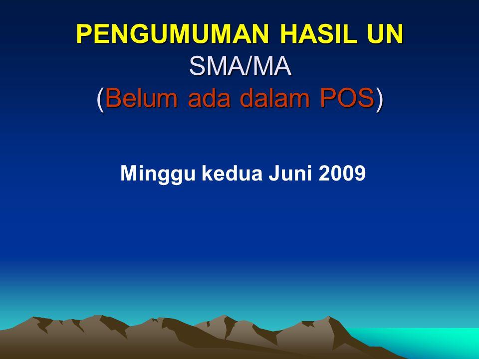 PENGUMUMAN HASIL UN SMA/MA (Belum ada dalam POS) Minggu kedua Juni 2009