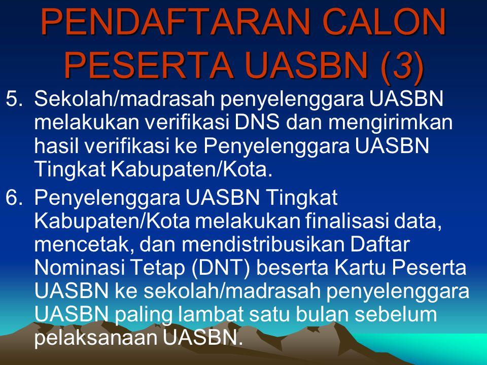 PENDAFTARAN CALON PESERTA UASBN (3) 5.Sekolah/madrasah penyelenggara UASBN melakukan verifikasi DNS dan mengirimkan hasil verifikasi ke Penyelenggara