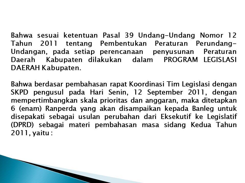Bahwa sesuai ketentuan Pasal 39 Undang-Undang Nomor 12 Tahun 2011 tentang Pembentukan Peraturan Perundang- Undangan, pada setiap perencanaan penyusuna