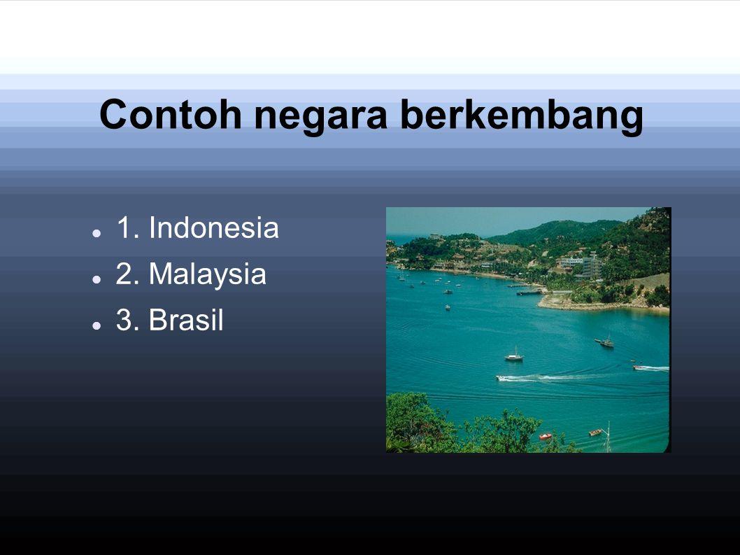 Contoh negara berkembang 1. Indonesia 2. Malaysia 3. Brasil