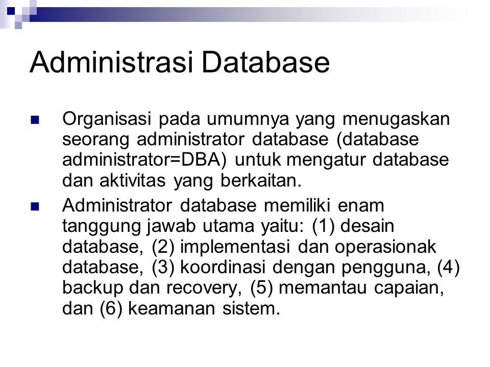 Administrasi Database Organisasi pada umumnya yang menugaskan seorang administrator database (database administrator=DBA) untuk mengatur database dan aktivitas yang berkaitan.