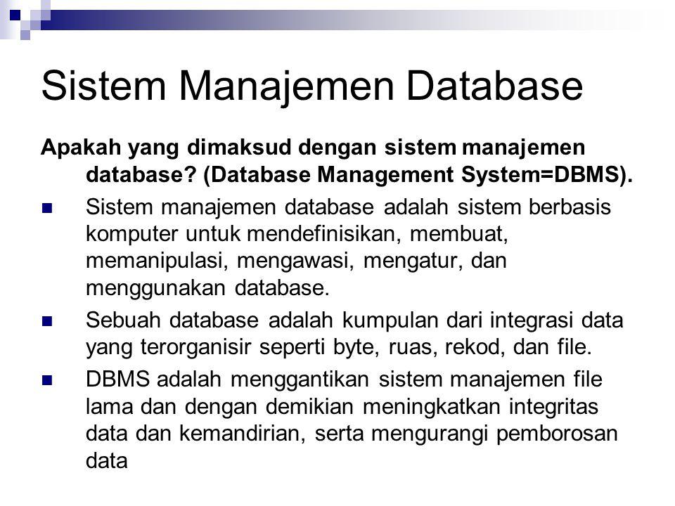 Sistem Manajemen Database Apakah yang dimaksud dengan sistem manajemen database? (Database Management System=DBMS). Sistem manajemen database adalah s