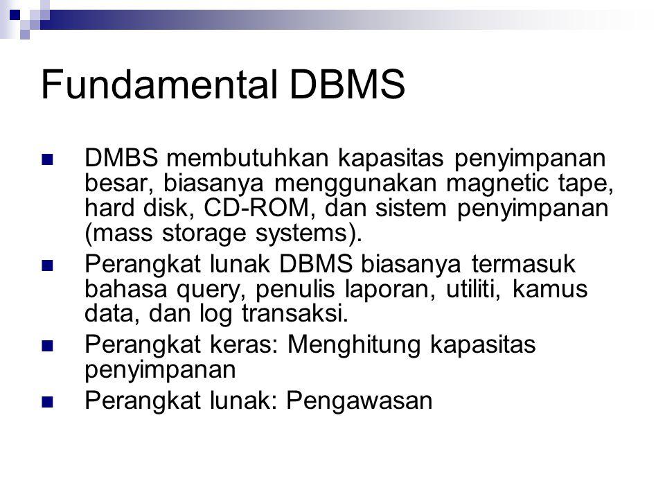 Fundamental DBMS DMBS membutuhkan kapasitas penyimpanan besar, biasanya menggunakan magnetic tape, hard disk, CD-ROM, dan sistem penyimpanan (mass sto
