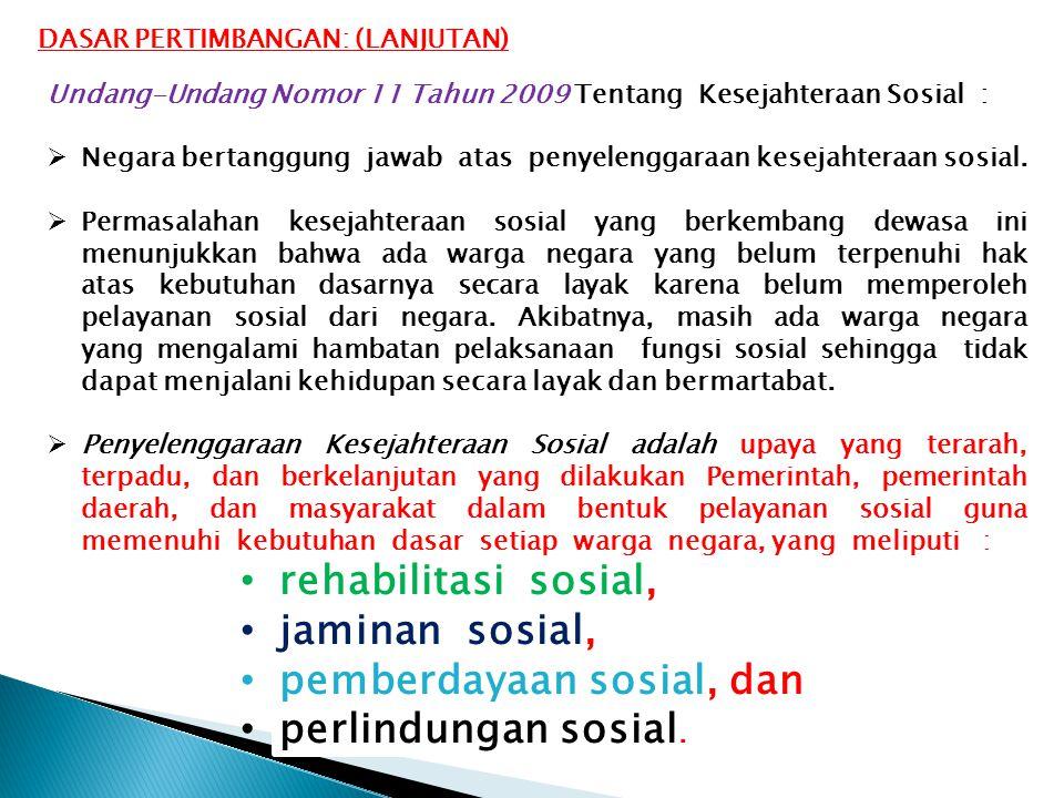 Undang-Undang Nomor 11 Tahun 2009 Tentang Kesejahteraan Sosial :  Negara bertanggung jawab atas penyelenggaraan kesejahteraan sosial.