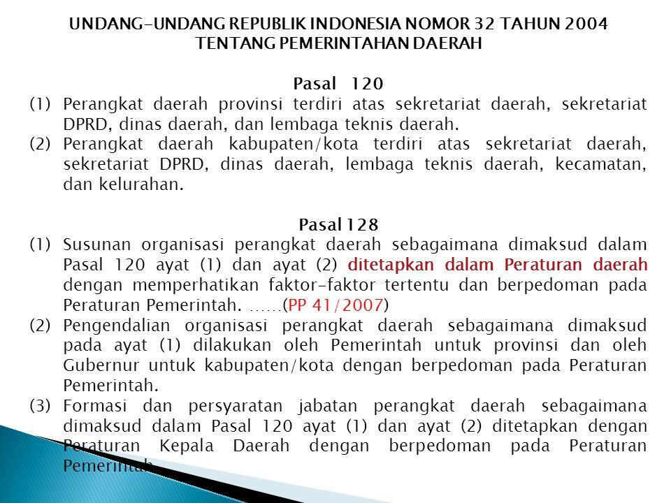 UNDANG-UNDANG REPUBLIK INDONESIA NOMOR 32 TAHUN 2004 TENTANG PEMERINTAHAN DAERAH Pasal 120 (1)Perangkat daerah provinsi terdiri atas sekretariat daerah, sekretariat DPRD, dinas daerah, dan lembaga teknis daerah.