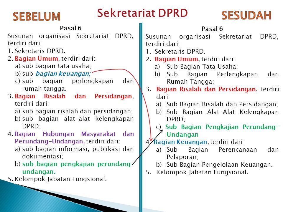 Pasal 6 Susunan organisasi Sekretariat DPRD, terdiri dari: 1.Sekretaris DPRD.