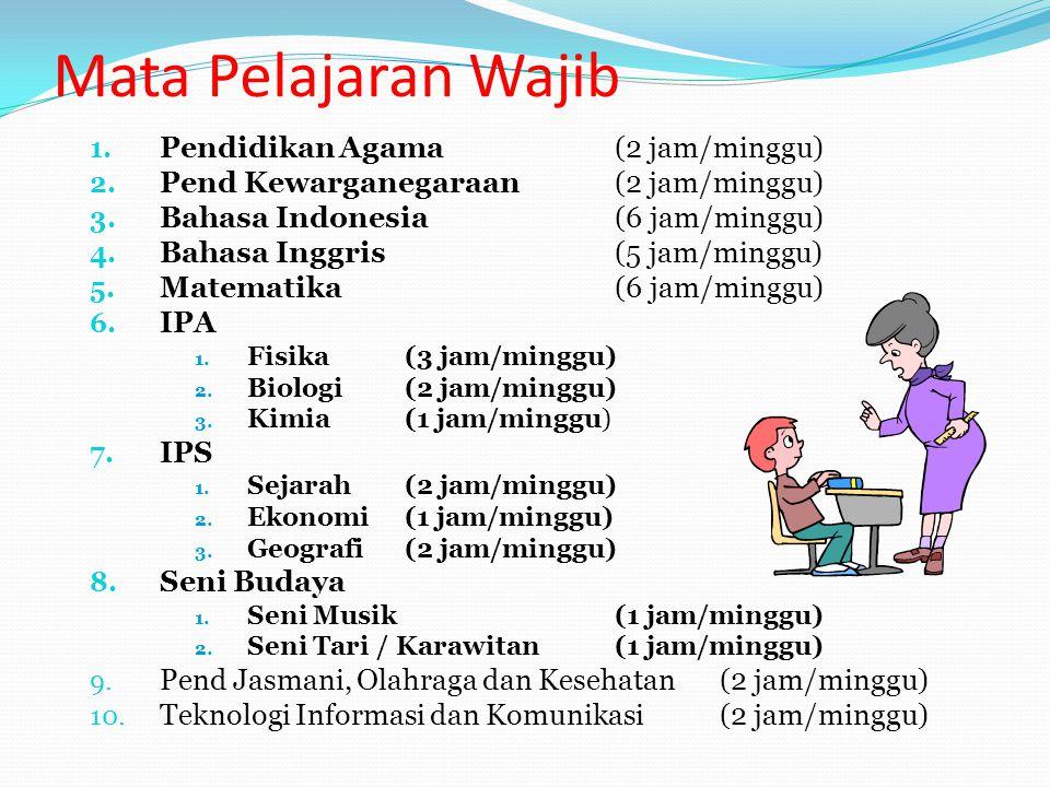 Mata Pelajaran Wajib 1. Pendidikan Agama (2 jam/minggu) 2. Pend Kewarganegaraan (2 jam/minggu) 3. Bahasa Indonesia (6 jam/minggu) 4. Bahasa Inggris (5