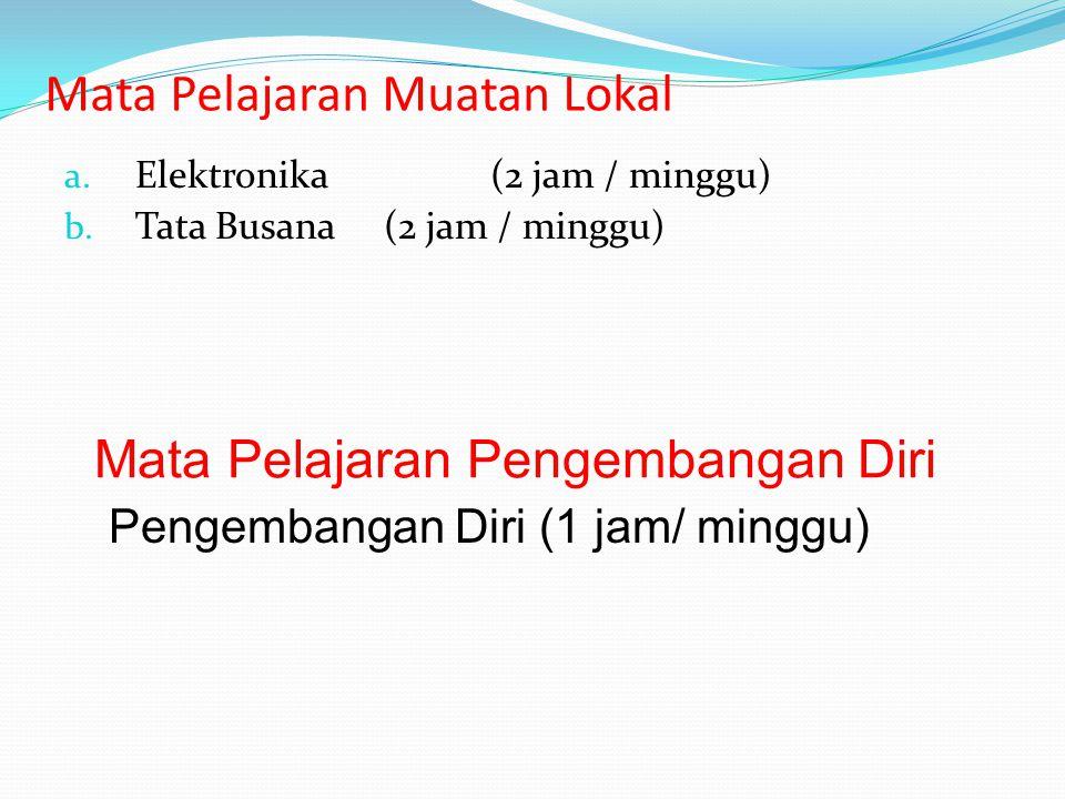 Mata Pelajaran Muatan Lokal a. Elektronika (2 jam / minggu) b. Tata Busana (2 jam / minggu) Mata Pelajaran Pengembangan Diri Pengembangan Diri (1 jam/