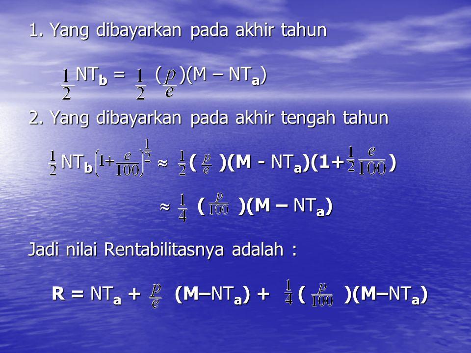 1. 1. Yang dibayarkan pada akhir tahun NT b = ( )(M – NT a ) 2. Yang dibayarkan pada akhir tengah tahun NT b  ( )(M - NT a )(1+ )  ( )(M – NT a ) Ja