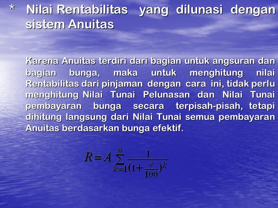 * Nilai Rentabilitas yang dilunasi dengan sistem Anuitas * Nilai Rentabilitas yang dilunasi dengan sistem Anuitas Karena Anuitas terdiri dari bagian u