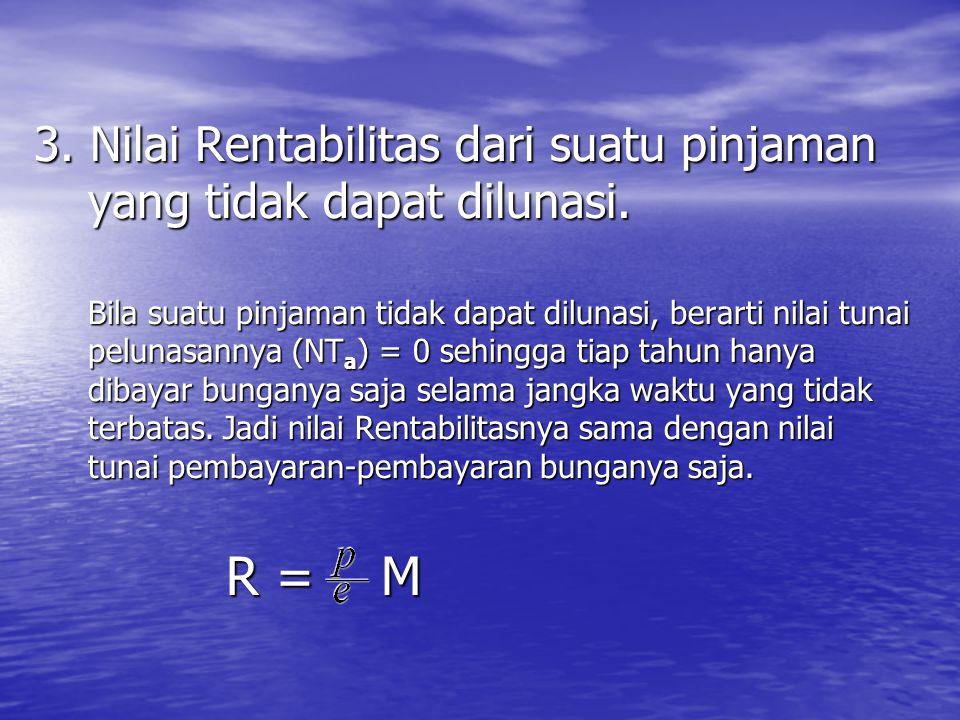 3. Nilai Rentabilitas dari suatu pinjaman yang tidak dapat dilunasi. Bila suatu pinjaman tidak dapat dilunasi, berarti nilai tunai pelunasannya (NT a