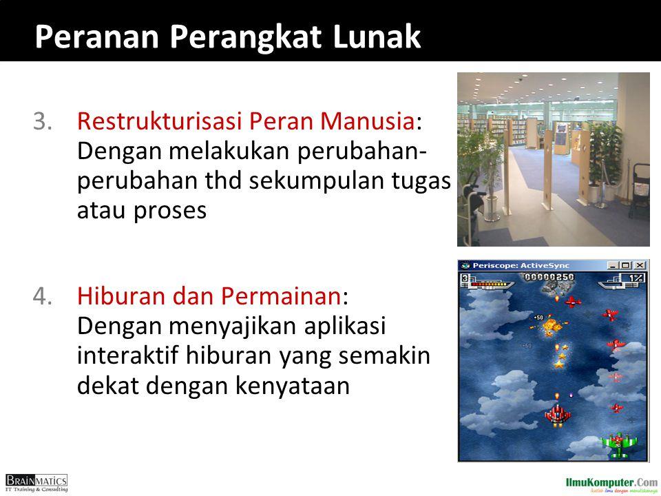 Peranan Perangkat Lunak 3.Restrukturisasi Peran Manusia: Dengan melakukan perubahan- perubahan thd sekumpulan tugas atau proses 4.Hiburan dan Permaina