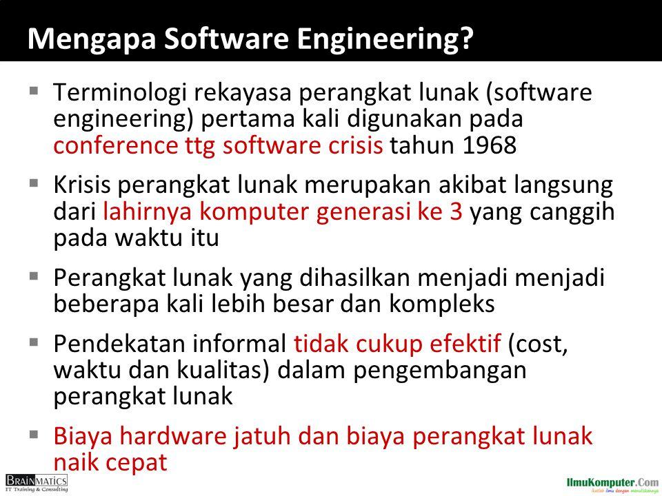 Mengapa Software Engineering?  Terminologi rekayasa perangkat lunak (software engineering) pertama kali digunakan pada conference ttg software crisis