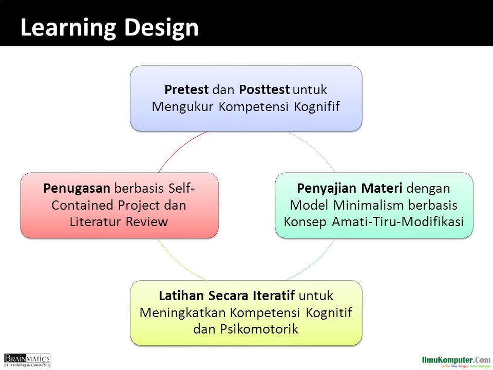 Learning Design Pretest dan Posttest untuk Mengukur Kompetensi Kognifif Penyajian Materi dengan Model Minimalism berbasis Konsep Amati-Tiru-Modifikasi
