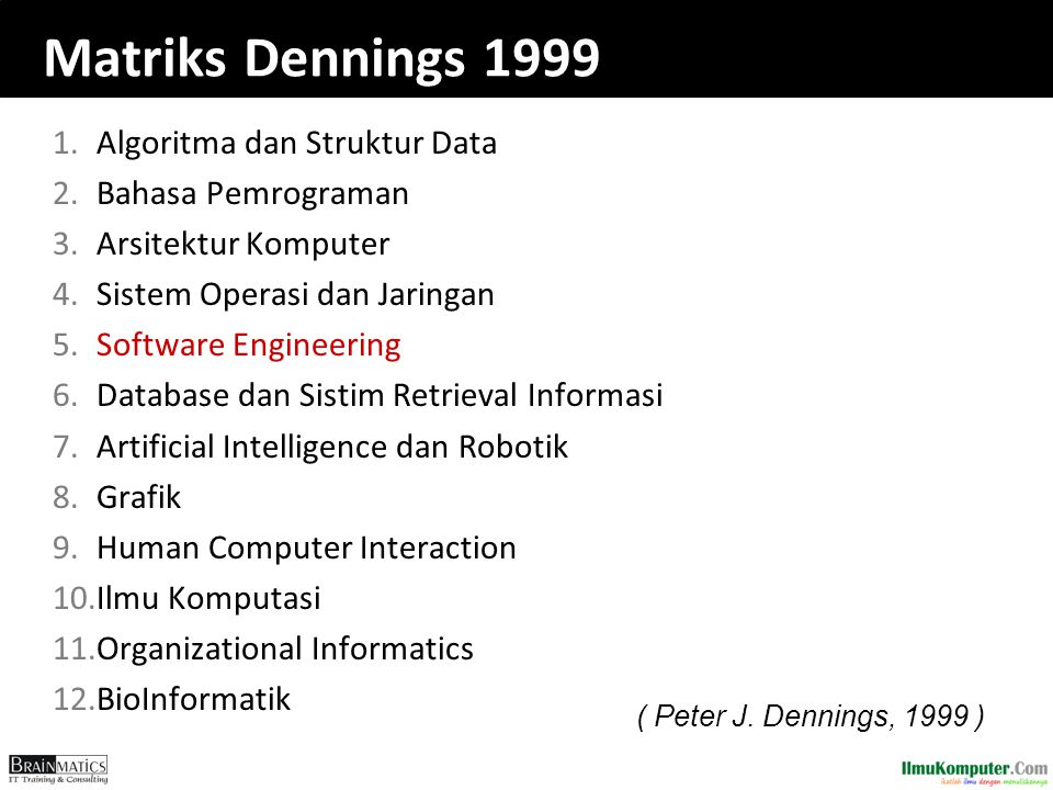 Matriks Dennings 1999 1.Algoritma dan Struktur Data 2.Bahasa Pemrograman 3.Arsitektur Komputer 4.Sistem Operasi dan Jaringan 5.Software Engineering 6.Database dan Sistim Retrieval Informasi 7.Artificial Intelligence dan Robotik 8.Grafik 9.Human Computer Interaction 10.Ilmu Komputasi 11.Organizational Informatics 12.BioInformatik ( Peter J.