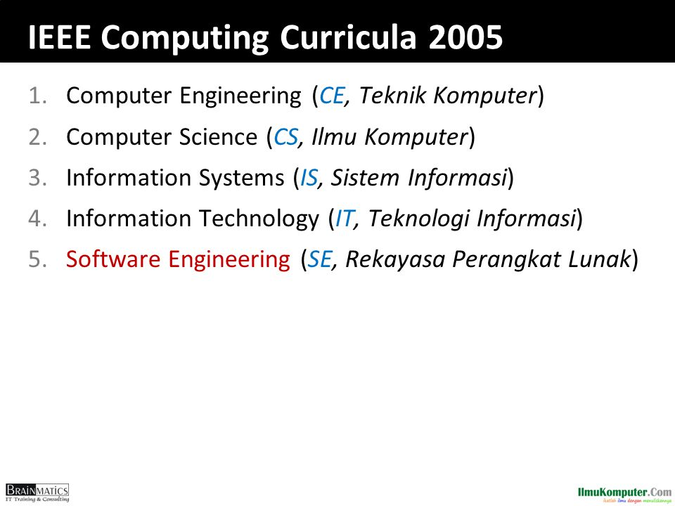 IEEE Computing Curricula 2005 1.Computer Engineering (CE, Teknik Komputer) 2.Computer Science (CS, Ilmu Komputer) 3.Information Systems (IS, Sistem In