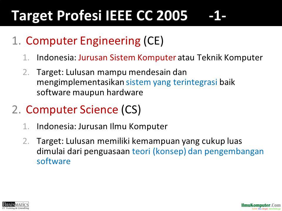 Target Profesi IEEE CC 2005 -1- 1.Computer Engineering (CE) 1.Indonesia: Jurusan Sistem Komputer atau Teknik Komputer 2.Target: Lulusan mampu mendesain dan mengimplementasikan sistem yang terintegrasi baik software maupun hardware 2.Computer Science (CS) 1.Indonesia: Jurusan Ilmu Komputer 2.Target: Lulusan memiliki kemampuan yang cukup luas dimulai dari penguasaan teori (konsep) dan pengembangan software