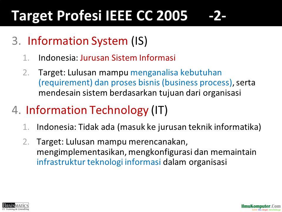 Target Profesi IEEE CC 2005 -2- 3.Information System (IS) 1.Indonesia: Jurusan Sistem Informasi 2.Target: Lulusan mampu menganalisa kebutuhan (require