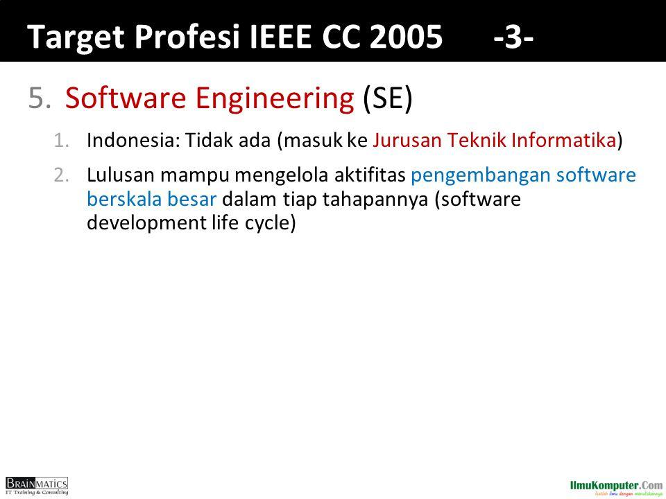 Target Profesi IEEE CC 2005 -3- 5.Software Engineering (SE) 1.Indonesia: Tidak ada (masuk ke Jurusan Teknik Informatika) 2.Lulusan mampu mengelola aktifitas pengembangan software berskala besar dalam tiap tahapannya (software development life cycle)