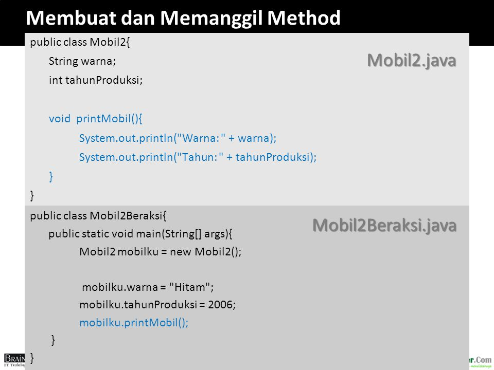 Membuat dan Memanggil Method public class Mobil2{ String warna; int tahunProduksi; void printMobil(){ System.out.println(