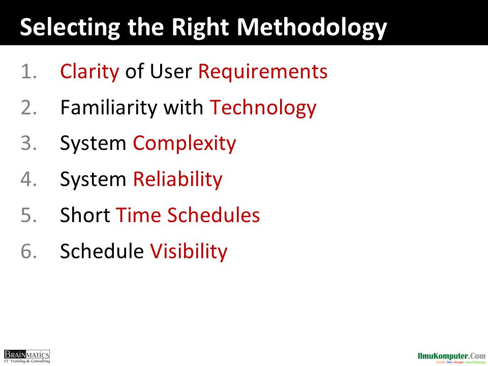 Selecting the Right Methodology 1.Clarity of User Requirements 2.Familiarity with Technology 3.System Complexity 4.System Reliability 5.Short Time Schedules 6.Schedule Visibility