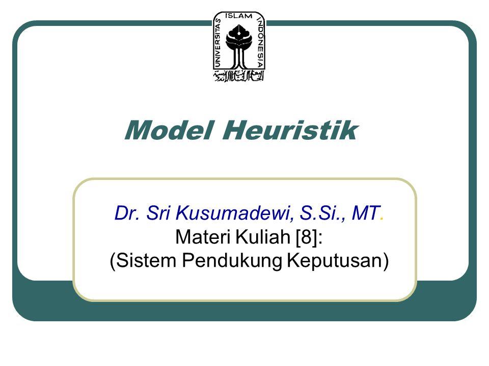 Model Heuristik Dr. Sri Kusumadewi, S.Si., MT. Materi Kuliah [8]: (Sistem Pendukung Keputusan)