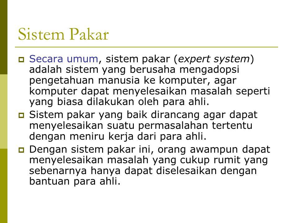 Sistem Pakar  Secara umum, sistem pakar (expert system) adalah sistem yang berusaha mengadopsi pengetahuan manusia ke komputer, agar komputer dapat menyelesaikan masalah seperti yang biasa dilakukan oleh para ahli.