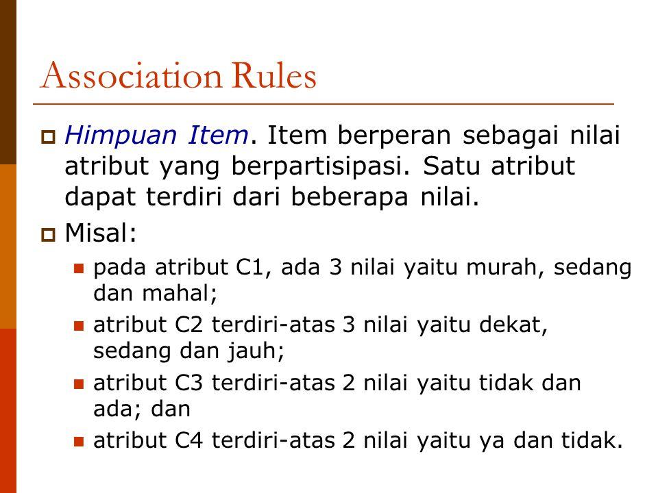 Association Rules  Himpuan Item.Item berperan sebagai nilai atribut yang berpartisipasi.