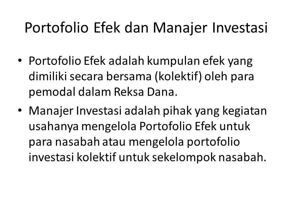 Portofolio Efek dan Manajer Investasi Portofolio Efek adalah kumpulan efek yang dimiliki secara bersama (kolektif) oleh para pemodal dalam Reksa Dana.