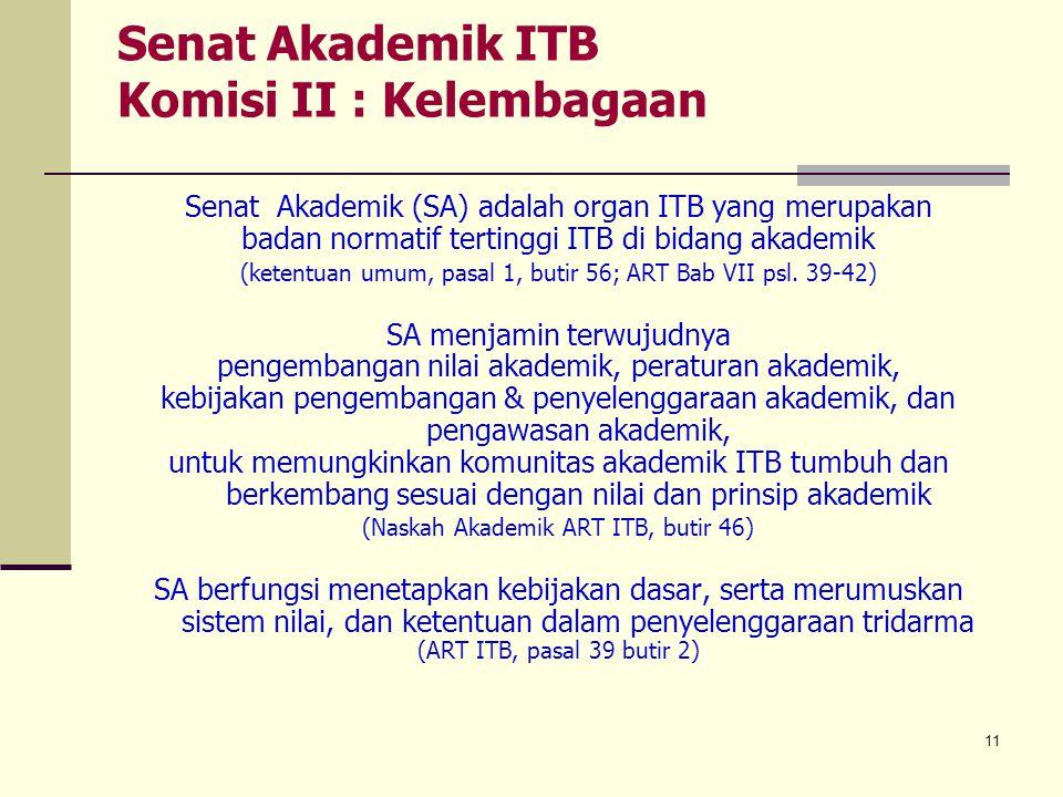 11 Senat Akademik ITB Komisi II : Kelembagaan Senat Akademik (SA) adalah organ ITB yang merupakan badan normatif tertinggi ITB di bidang akademik (ket
