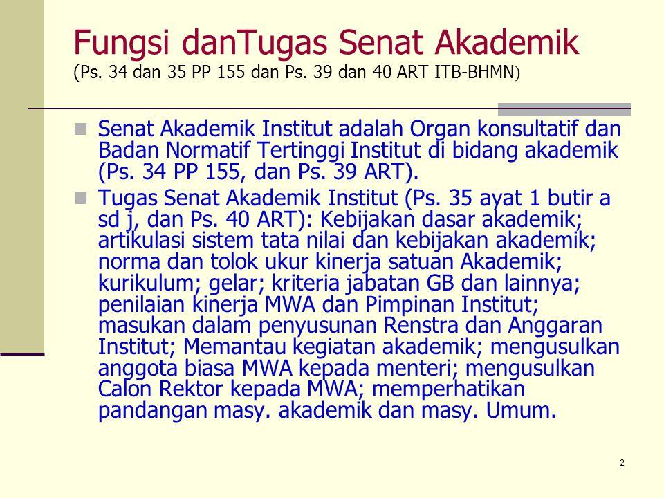 2 Fungsi danTugas Senat Akademik (Ps. 34 dan 35 PP 155 dan Ps. 39 dan 40 ART ITB-BHMN ) Senat Akademik Institut adalah Organ konsultatif dan Badan Nor