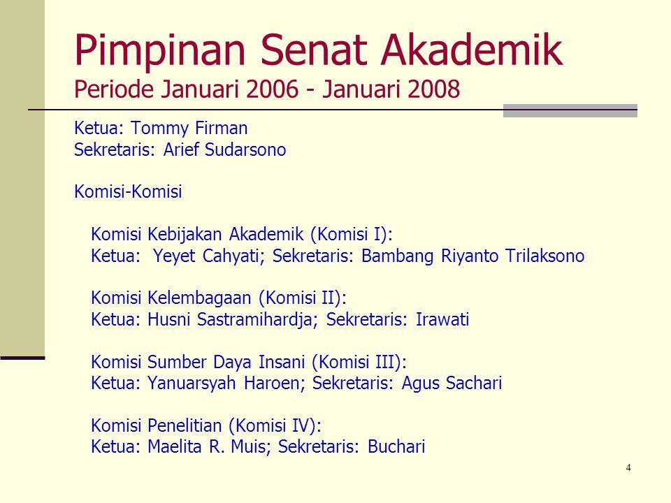 4 Pimpinan Senat Akademik Periode Januari 2006 - Januari 2008 Ketua: Tommy Firman Sekretaris: Arief Sudarsono Komisi-Komisi Komisi Kebijakan Akademik
