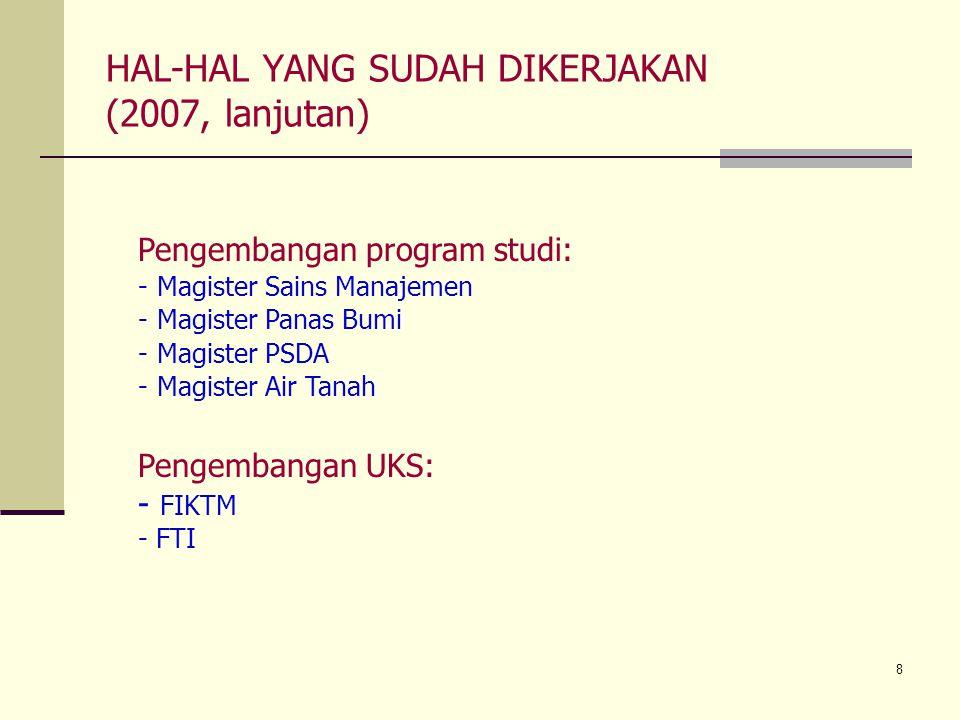 8 HAL-HAL YANG SUDAH DIKERJAKAN (2007, lanjutan) Pengembangan UKS: - FIKTM - FTI Pengembangan program studi: -Magister Sains Manajemen -Magister Panas