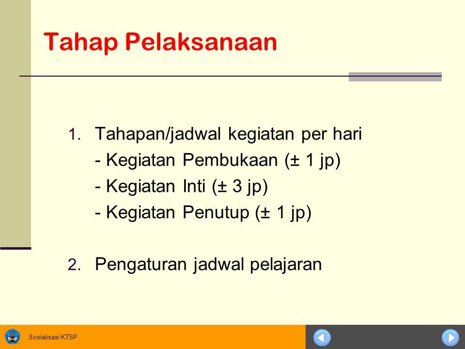 Sosialisasi KTSP Tahap Pelaksanaan 1. Tahapan/jadwal kegiatan per hari - Kegiatan Pembukaan (± 1 jp) - Kegiatan Inti (± 3 jp) - Kegiatan Penutup (± 1