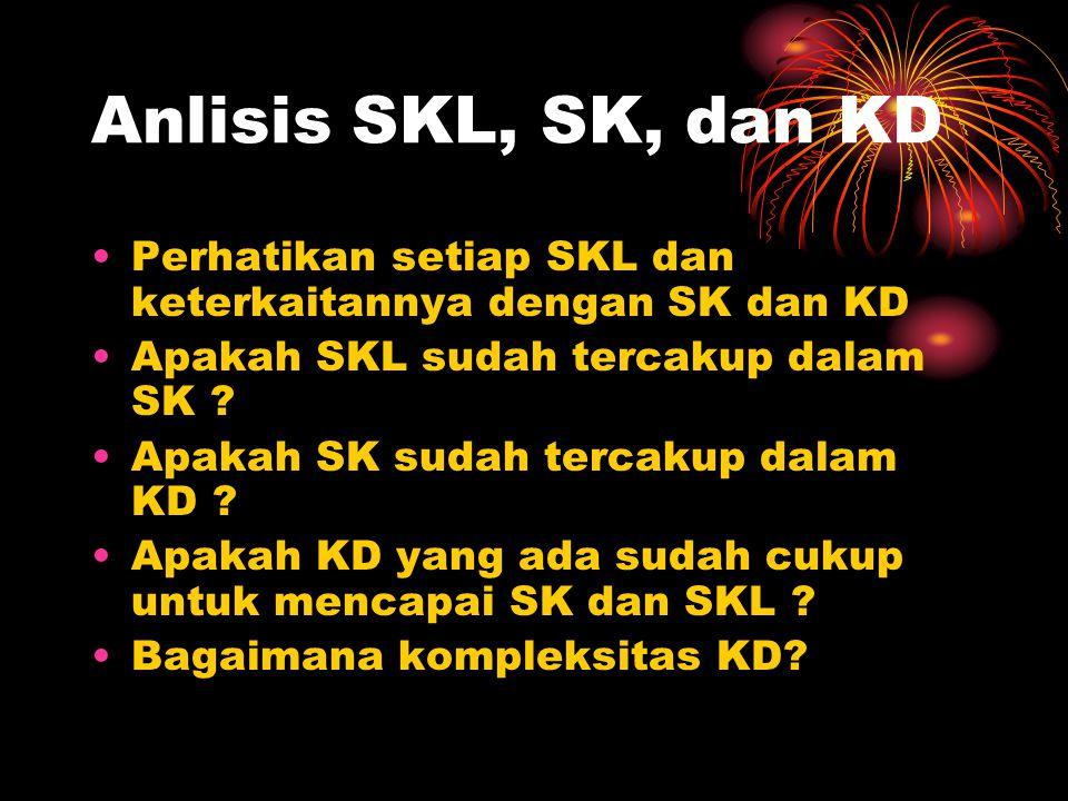 Anlisis SKL, SK, dan KD Perhatikan setiap SKL dan keterkaitannya dengan SK dan KD Apakah SKL sudah tercakup dalam SK ? Apakah SK sudah tercakup dalam