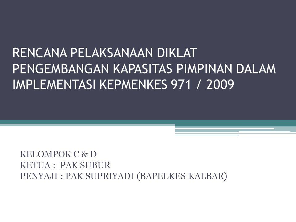 RENCANA PELAKSANAAN DIKLAT PENGEMBANGAN KAPASITAS PIMPINAN DALAM IMPLEMENTASI KEPMENKES 971 / 2009 KELOMPOK C & D KETUA : PAK SUBUR PENYAJI : PAK SUPRIYADI (BAPELKES KALBAR)
