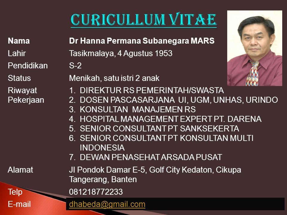 NamaDr Hanna Permana Subanegara MARS LahirTasikmalaya, 4 Agustus 1953 PendidikanS-2 StatusMenikah, satu istri 2 anak Riwayat Pekerjaan 1.DIREKTUR RS P