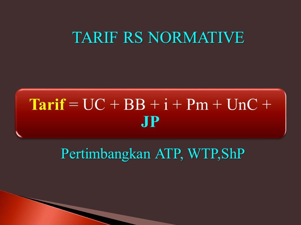 Tarif = UC + BB + i + Pm + UnC + JP Pertimbangkan ATP, WTP,ShP TARIF RS NORMATIVE
