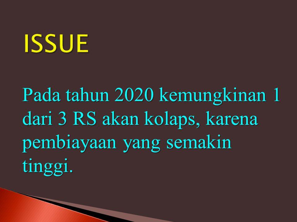 Pada tahun 2020 kemungkinan 1 dari 3 RS akan kolaps, karena pembiayaan yang semakin tinggi.